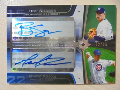 UD Ultimate Collection Auto 雙簽名 限量25張 Ben Sheets Mark Prior