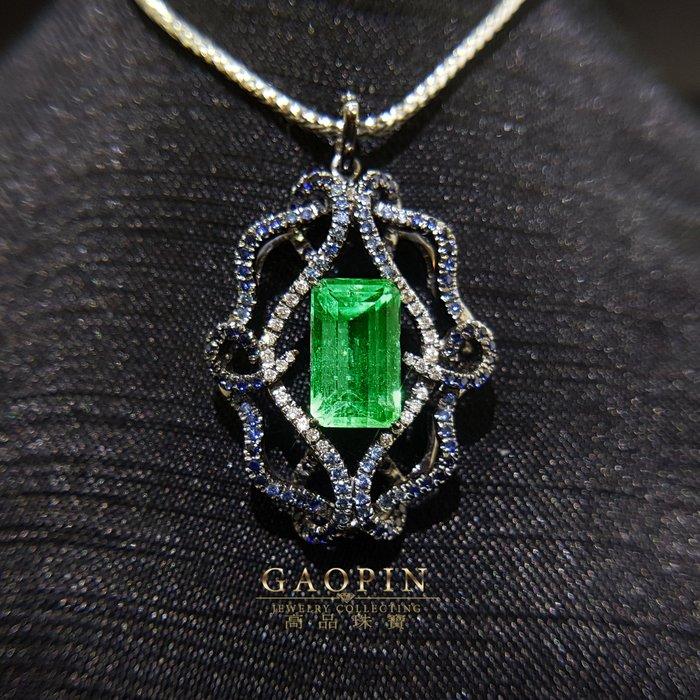 【高品珠寶】2.99克拉哥倫比亞微油袓母綠墜子 女墜 #2161
