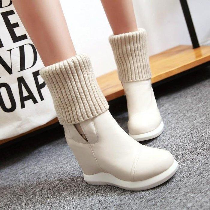 秋冬新款彈力布中筒靴舒適高跟平底內增高簡約米色兩穿女靴子