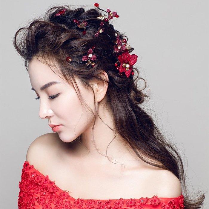 解憂zakka~ 新娘頭飾2019新款紅色邊夾發箍結婚禮發飾婚紗禮服手工配飾#頭飾#髮飾