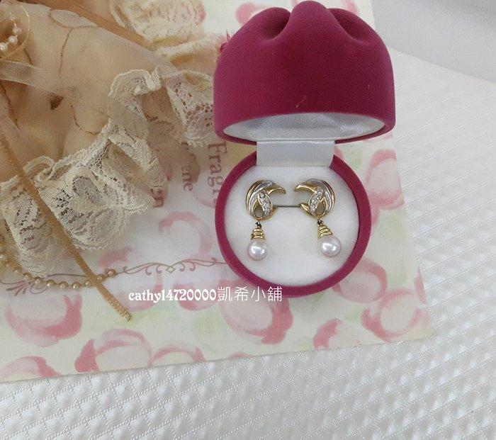 。☆凱希小舖☆。♥禮物♥ 日本珍珠鑽石k金耳環no.0476