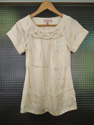 英國品牌 Ted Baker 米色 100% silk 純蠶絲真絲短袖上衣