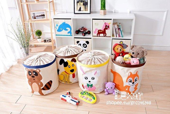 歐式兒童房玩具收納桶可水洗收納箱帶蓋布藝卡通玩具收納筐儲物箱