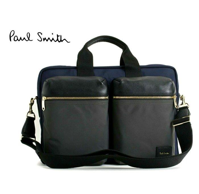 Paul Smith (深藍色×黑色×深灰色) 尼龍×真皮 手提包  肩背包 公事包   |100%全新正品|特價!
