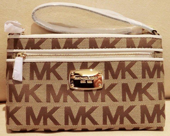 大降價!全新 Michael Kors MK 布面咖啡色底白色皮革飾邊手拿包小手提包,低價起標無底價!本商品免運費!