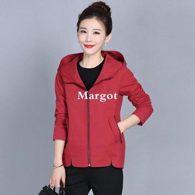 [Margot]媽媽裝風衣外套女短款中老年女裝秋裝短外套女 大碼連帽春秋上衣