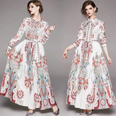 BA04992 新款宮廷風長袖襯衫長款百褶裙印花時尚連衣長裙 M-2XL