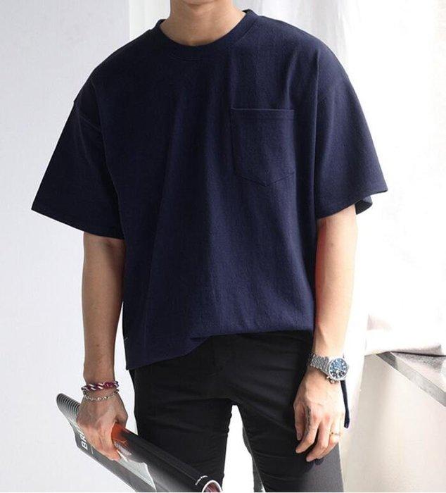 FINDSENSE 時尚潮流 男 日系 休閒 寬鬆 舒適 素面 開叉 短袖T恤 素面T 特色T恤