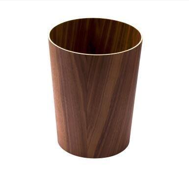 【優上】升級款黑胡桃圓桶無印木製垃圾桶圓形廢紙簍酒店