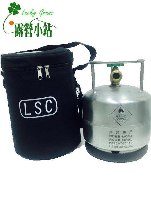 露營小站~【AM-C-B】美規戶外家庭休閒野地工程不鏽鋼瓶3.5KG+外袋 ,贈-台灣製造