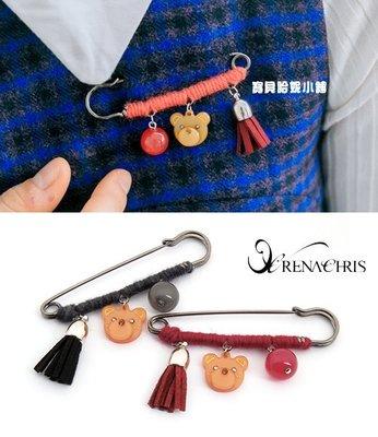 BHI1237-法國品牌RenaChris 施華洛世奇晶鑽可愛小熊流蘇別針 胸針【韓國製】