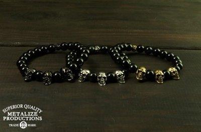 (I LOVE樂多)METALIZESkulls 8MM Beaded Bracelet 三骷髏8MM串珠手鍊 黑