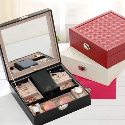 大型雙層珠寶盒 化妝箱飾品收納首飾盒 母親節 結婚 情人節 生日禮物-艾發現