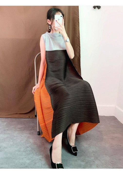 【子芸芳】三宅衣尚褶皺連衣裙風琴壓褶寬鬆大碼長款裙子