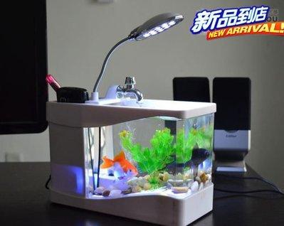 創意 USB 魚缸 迷你  水族箱 送小鵝卵石1包/魚草(白色) 新台幣:518元