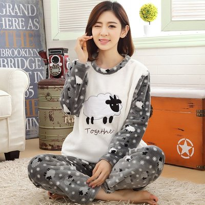 FuNFang_店小二推薦款_長版法蘭絨居家舒適成套睡衣《#5009》