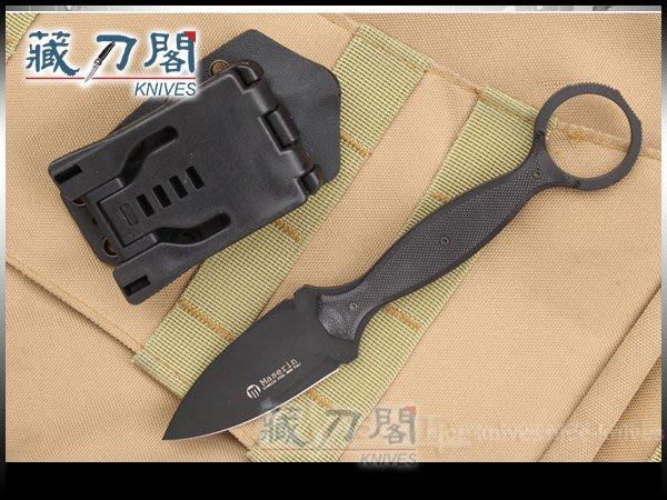 《藏刀閣》Maserin-(Neck line 922)戰術黑刃黑G10柄頸刀