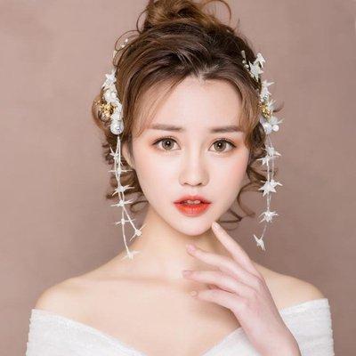 婚紗名店指定款新娘造型頭飾新品超仙結婚婚紗禮服髮飾對釵婚禮敬酒韓式森系飾品