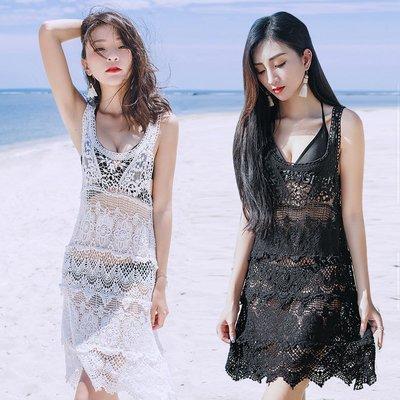 新品上市-可開發票-度假旅遊海邊沙灘裙空蕾絲木耳邊中長款防曬罩衫泳衣背心裙-柳風向