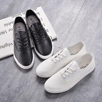 鞋子女 休閒 顯瘦 潮 百搭 韓國萬能穿搭舒適好穿顯腳小系帶超柔軟PU皮質小白鞋休閒單鞋