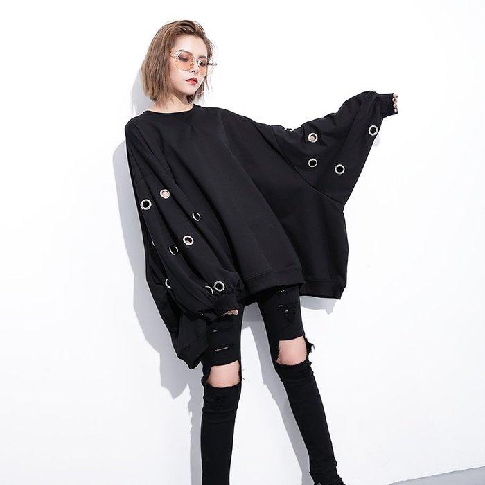 素面泡泡袖套頭衛衣 裝新款寬松大碼镂空鐵圈上衣外套 —莎芭