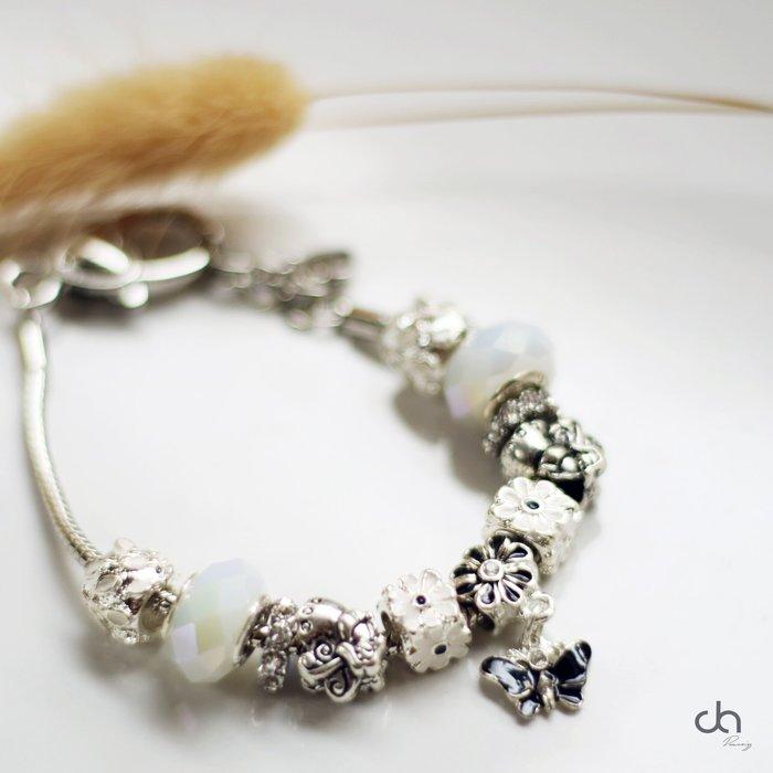 正韓潘朵拉水鑽珠飾蝴蝶掛飾手環手鍊 韓國製造鍍白銀簡約個性 古銀 銀手環 飾品 實戴實拍現貨 米絲小姐玩時裝