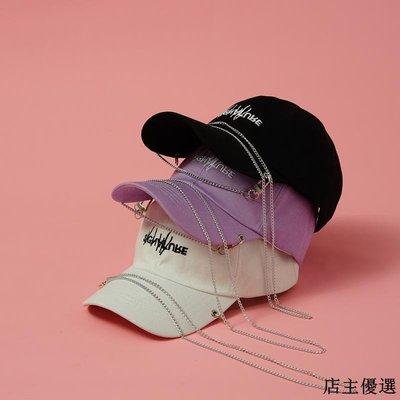 帽子女夏天街頭時尚個性鏈條棒球帽男韓版休閑百搭字母刺繡鴨舌帽