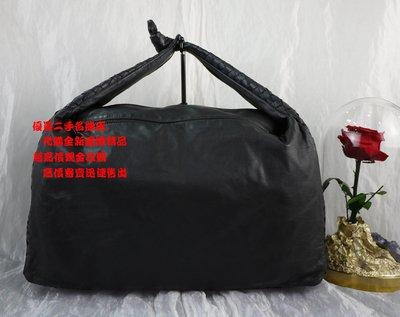 優買二手精品名牌店 BOTTEGA VENETA BV 黑色 全皮 編織 肩背包 牛角包 和尚包 彎月包 購物包 托特包