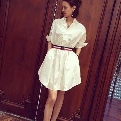 洋裝  #F-027立領短袖純白簡約連身裙款