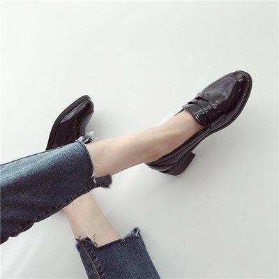 ~Linda~預售款!歐美風~簡約亮面復古低幫鞋冬季百搭實木粗跟英倫風時尚女鞋