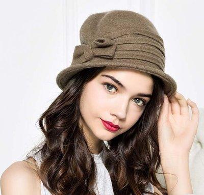 新款初秋上新 手工裁剪羊毛呢蝴蝶結氊帽 褶皺短簷小盆帽