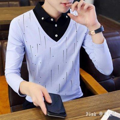 POLO衫2019秋裝男士長袖T恤韓版潮流襯衫領體恤假兩件上衣潮帶領T JY11138