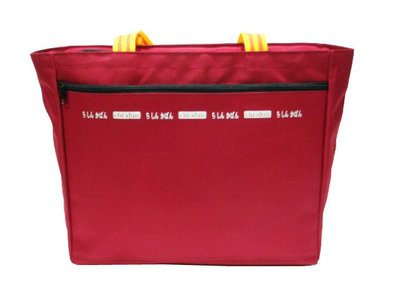 ~菲歐娜~6726~  拍品 超大補習袋 資料袋 袋 背帶黃橘條紋 酒紅  製作