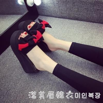 2019女夏季拖鞋新款一字拖涼鞋松糕室外坡跟韓版時尚厚底沙灘涼拖