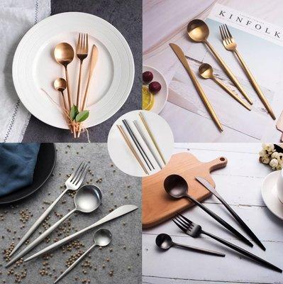 【窩窩宅】【五件組】 北歐 葡萄牙 同款 304不鏽鋼 叉子 湯匙 湯勺 筷子 餐具 金色 玫瑰金 粉色 環保 旅行餐具