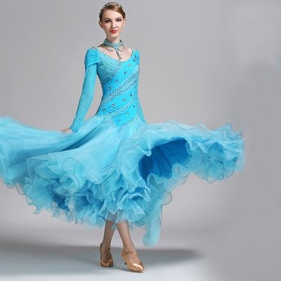 摩登舞裙演出服 手縫石國標舞服鑲鑽淡雅湖藍色萊卡摩登舞衣