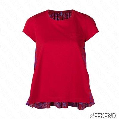 【WEEKEND】 SACAI Flared 拼接 印圖 短袖 上衣 T恤 紅色 18秋冬
