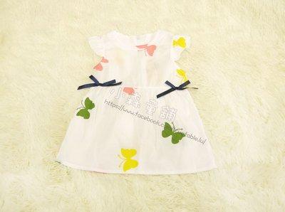 小森童舖 日系清新可愛風格 女寶寶 蝴蝶 透氣棉質 白色系 無袖洋裝長上衣2號 零碼
