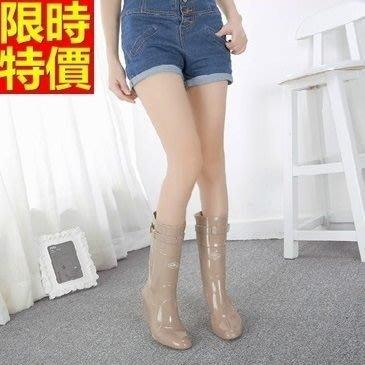 長筒雨靴子 雨具-純色簡約時尚百搭女雨鞋子3色66ak40[獨家進口][米蘭精品]