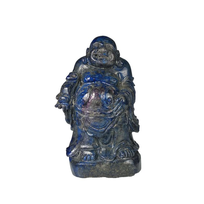 《博古珍藏》青金石歡喜彌勒佛立像擺件.1.6公斤.早期收藏.老件文物.行家勿錯過.超值回饋