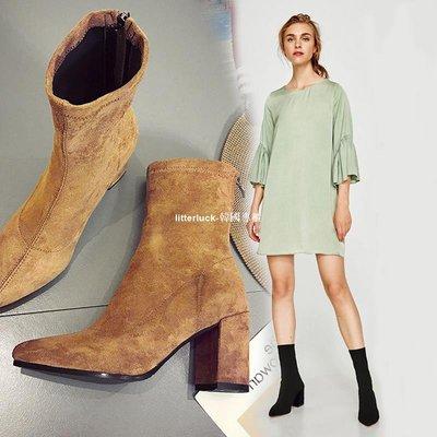 litterluck-韓國專櫃秋單靴女尖頭短靴高跟鞋瘦腿粗跟彈力襪子靴女正韓馬丁靴女后拉鍊