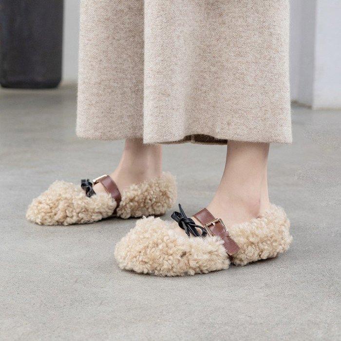 『Alice❤愛麗絲』毛毛鞋女冬外穿內增高卷毛羊羔毛一腳蹬豆豆鞋懶人鞋