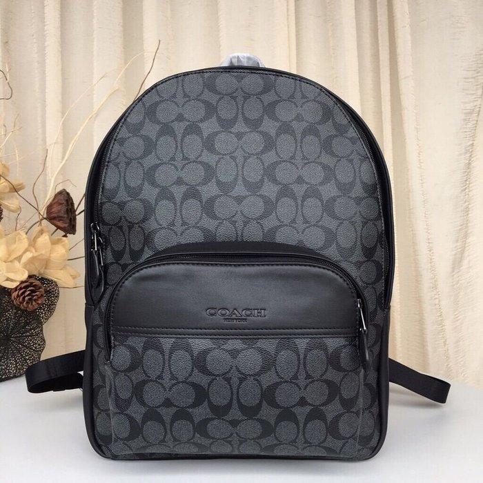 COACH 72482 新款男士後背包 PVC配牛皮經典C字底紋雙肩包 旅行包 大容量