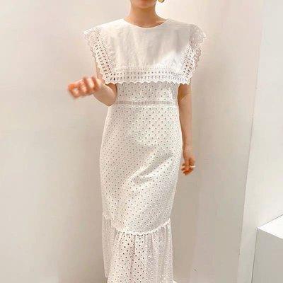 重工造型方領純粹蕾絲刺繡連身裙?無袖洋裝sa693