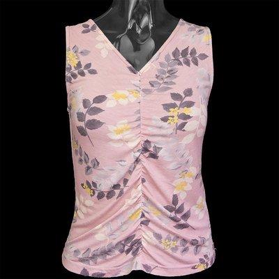 日本la chambre d'ine(i・n・e )專櫃品牌粉色花朵抓褶無袖上衣 背心 38號