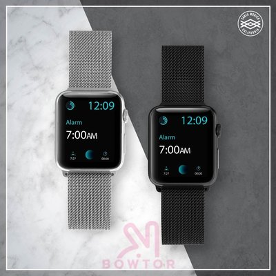 光華商場。包你個頭【X-doria】 Apple Watch 金屬編織錶帶 磁吸式1 2 3代38(40)mm 黑 銀