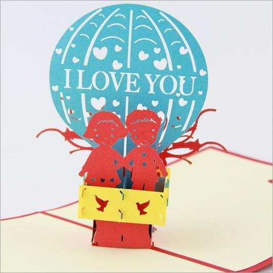 韓版韓系韓國少女萌妹居家百搭潮流裝飾文藝歐式超美實用個性心機款滿減貨到付款520立體賀卡愛情熱氣球浪漫情人節婚禮紀念卡片