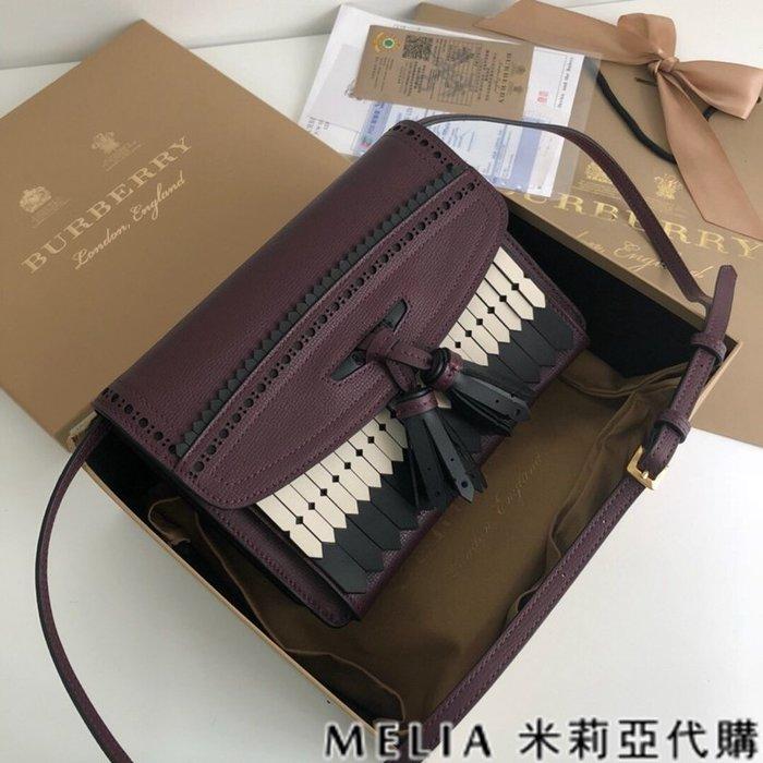 Melia 米莉亞代購 美國精品代購 巴寶莉 戰馬 女士秋冬新款 流蘇包 獨特雕藝 全手工 接拍必備 紫色