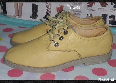 ☆甜甜妞妞小舖 ☆品牌  COMFORT ZONE  鴕鳥製超柔軟真皮黃色--綁帶圓頭低跟休閒鞋--7.5號
