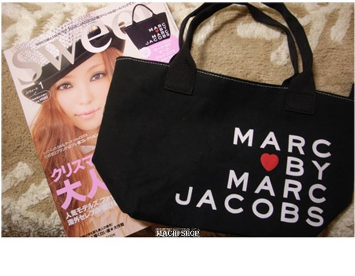 【現貨】日本sweet雜誌附錄Marc Jacobs 愛心帆布包 托特包 購物袋 媽媽包 [ MACHI SHOP ]